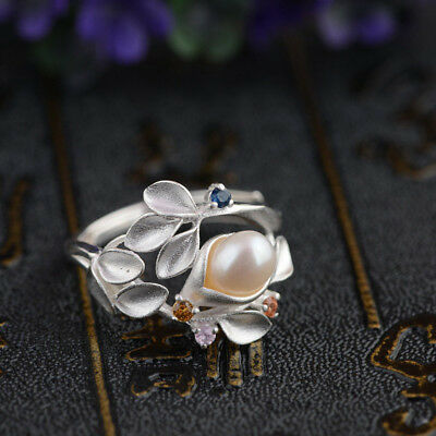 Fashion Pearl 925 Silver Women Jewelry Anniversary Gift Wedding Ring Size 6-10