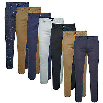 Mens Chino Trouser Classic Fit Active Stretch Jeans Pants Work Office Trousers