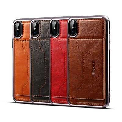 Luxury Leather Back case cover with card cash slots stand for iPhone Samsung