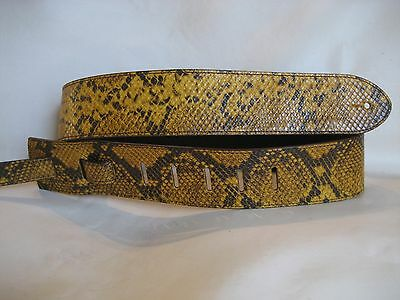 Unique Leather Yellow/Brown Snake Print Guitar/Bass Strap