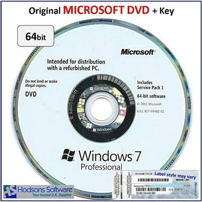 Win 7 Professional 64bit on ORIGINAL MICROSOFT DVD + Activation Key Label