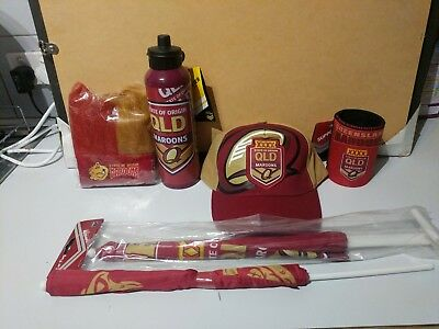 State of Origin QLD Queensland Maroons 6 Item Combo Can Cooler holders Cap Flag
