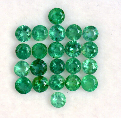 Natural Emerald Round Cut 2.75 mm Lot 22 Pcs 1.84 Cts Faceted Loose Gemstones