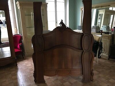 French antique vintage Louis XV style Rococo walnut double bed