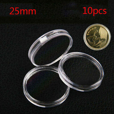 10Pcs 25mm Applied Clear Round Cases Coin Storage Boxes Capsules Holder EB