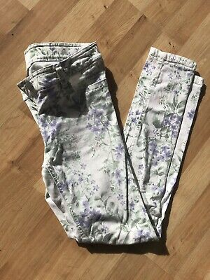 NEXT girls white brushed jeans with flower pattern age 12