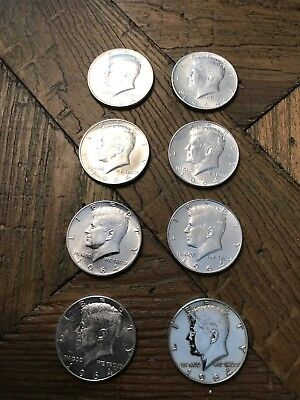 Lot Of 10 1964 Silver Kennedy Half Dollar Coins.