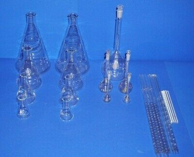 Labor glaswaren, Set, Kolben, Flaschen, Pipetten, Laborglas, Konvolut, lab, glas