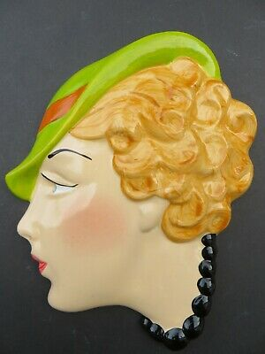 Art Deco Style Wall Mask Head Plaque Cast Hand Painted Gloss Glazed 'harriet'