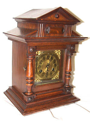 antique german Junghans mantle bracket shelf carriage clock 4/4 striking on gong