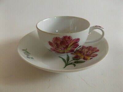 Antique Meissen Cup and Saucer with Carnation Decoration