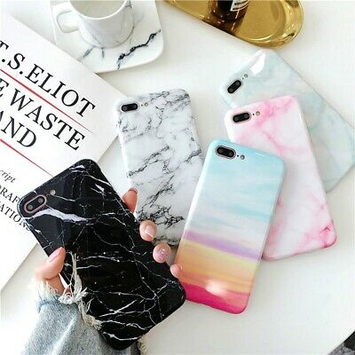 Pastel Marble Pattern Cover Case Soft Shockproof For iPhone X 6 8 7 Plus 5 Max