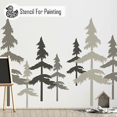 SKOG Nordic Scandinavian Pine Tree Forest Nursery Wall Stencil for Painting