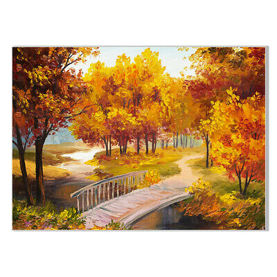 Autumn Park View Canvas Art Oil Painting Poster Living Room Home Wall Decor Gifr