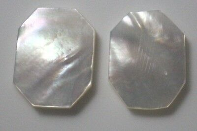 Natural Mother of Pearl Flat Fancy Cabochon Polished Loose Gemstone 2 Pcs Lot