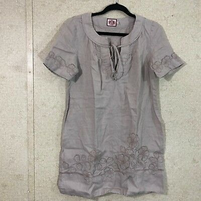 ea0ce92016 Juicy Couture Women s Size 8 Short Sleeve Shift Dress Floral Appliqué Beige