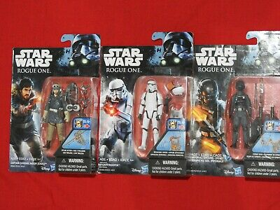 """3.75"""" STAR WARS Rogue One: 3 figures Imperial Ground Crew, Stormtrooper, Cassian"""
