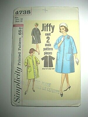 Vtg 1960s Simplicity Sewing Pattern 4738 - Size 10 Misses Reversible Jiffy Coat