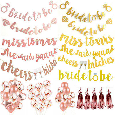 Bride To Be Ring Miss To Mrs Glitter Banner Bunting Hen Wedding Party Decoration