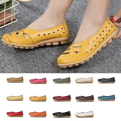 b28dc1e633 Women Leather Slip On Casual Ballet Flat Boat Moccasin Shoes Hollow Lady  Loafers