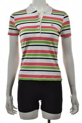 d917f366725e2 Lacoste Womens Top Size 36 White Pink Striped Polo Shirt Short Sleeve Cotton