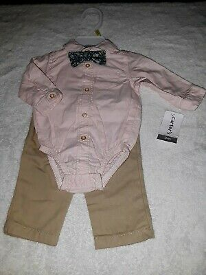 65711937aaee CARTER'S BABY BOY 3-Pc. SET - Pink Bodysuit with Bow-Tie and Pant ...