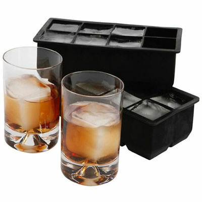 4/8 Big Cube Giant Jumbo Large Silicone Ice Cube Square Maker Tray Mold Mould