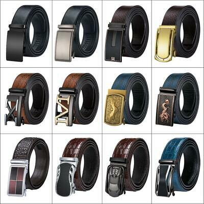 Genuine Leather Mens Belts Automatic Buckles Dress Jeans Belts Free Collocation