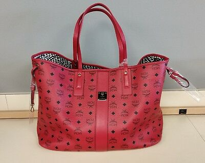 a1f8a08b4 MCM LIZ LARGE Reversible Tote Ruby Red Leather & Coated Canvas New -  $499.99 | PicClick