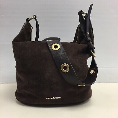 d9c24c54cbc594 MICHAEL KORS Brooklyn Large Grommet Feed Coffee Leather Shoulder Bag $428  AS IS