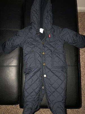 812177dcc RALPH LAUREN BABY Boy Polo Pony Quilted Navy Blue Snowsuit Bunting ...