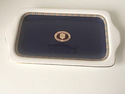 Burberry Design Ceramic Blue & White Long Butter Style Dish