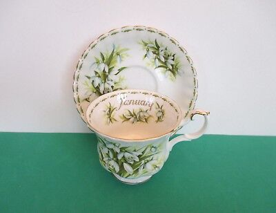 """Royal Albert White & Green Porcelain """"Snowdrops"""" January Cup and Saucer, England"""