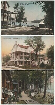 RARE- LOT of 3 Postcards Big Moose NY Hotel Glennmore Dart's 1908 Adirondack