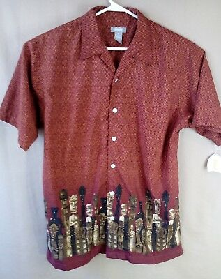 2e77293a Tiki Man Hawaiian Shirt Rust colored Medium Utility Brand Short Sleeve  Button