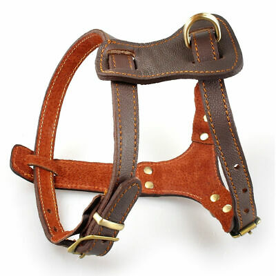 Heavy Duty Leather Dog Harness Adjustable for Large Breeds Pit Bull Rottweiler