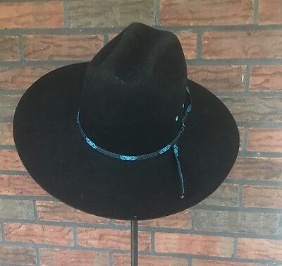340f4e1c6e4 EDDY BROS WOOL FUR Cowboy Hat Black Blue 7 3 8 Western Attire Unique ...