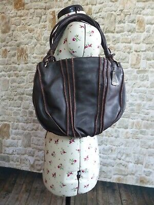 BETTY BARCLAY brown leather hobo style shoulder handbag Excellent Condition 91869608e3c72