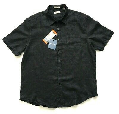 f383bf3f6e59a3 NWT Natural Blue by Visitor Men s Linen Short Sleeve Woven Shirt Black