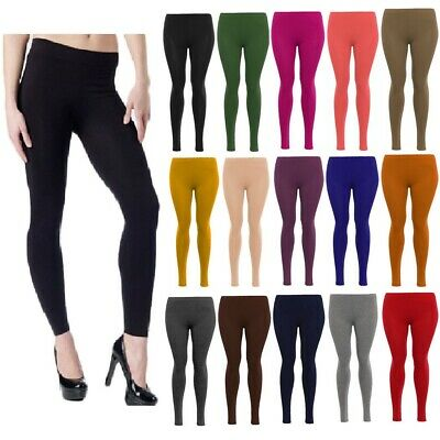 Ladies Plain Leggings Stretchy Soft Womens Viscose Elasticated Trouser Plus Size