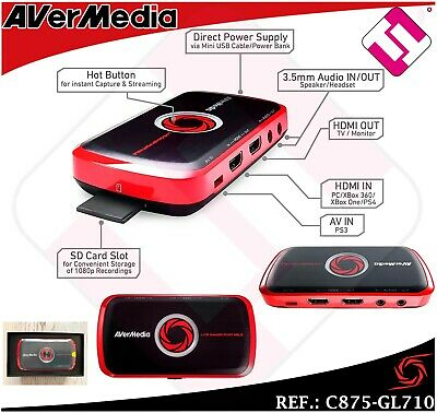 Capturadora Video Hd 1080 Grabar Gaming Avermedia Portatil Juegos Negro Rojo