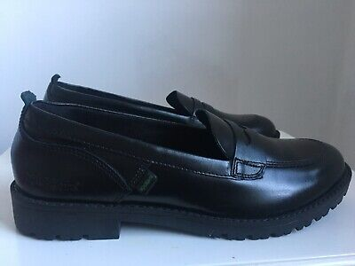 52b17b1d Kickers Girls Ladies Black Lachly Penny Loafers Shoes Flats Size 4 EU 37