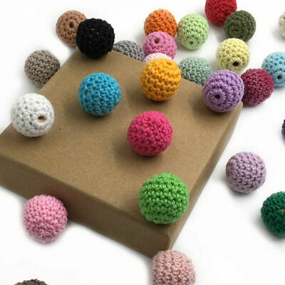 50X Crochet Wood Beads Baby DIY Teething Jewelry Chew Necklace Teether Making