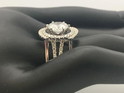 5.50 Ct E Vs2 Round Halo Diamond Ring W Matching Bands 14 K White Gold Stunning