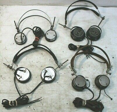 Lot of Vintage Vintage Radio Headsets Western Electric Brandes Cannon Ball