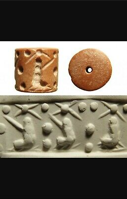Ancient cylinder seal, pink marble, Mesopotamia period c 3200 - 2900 BC stars
