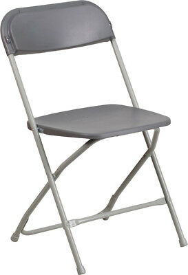 (10 PACK) 650 Lbs Capacity Commercial Quality Gray Plastic Folding Chairs
