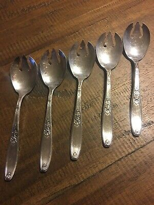 International 1847 Rogers Antique 1919 Silver Plate 5 Ice Cream Forks Ambassador