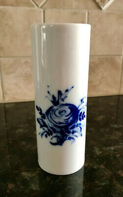 Vintage Rosenthal Bud Vase White China With Blue Flower 7 1 2 Inches