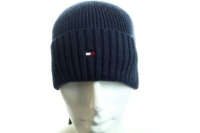 283c9576b TOMMY HILFIGER NAVY Blue Knitted Bobble Beanie Winter Hat, One Size ...
